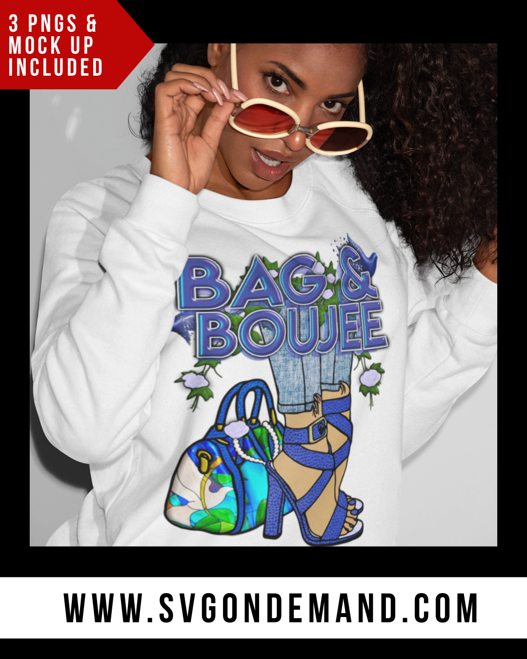 BAG & BOUJEE - Blue and White PNG Bundle
