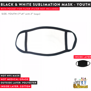 Black & White Sublimation Mask - YOUTH ONLY