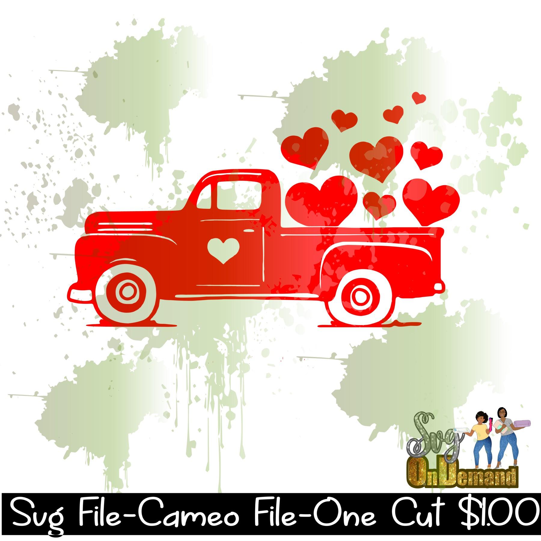 Valentines Red Truck